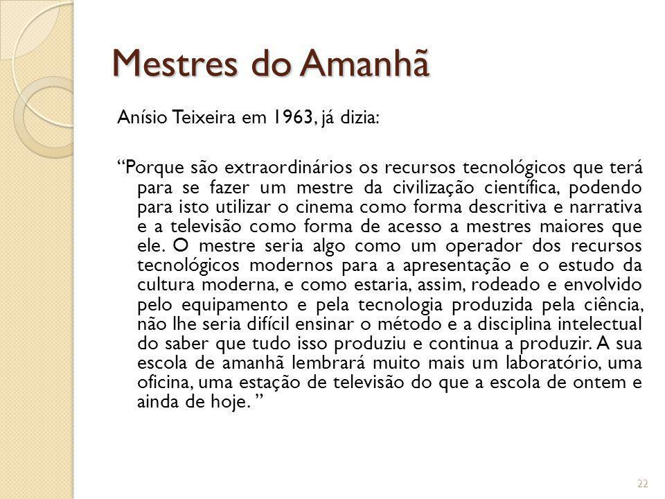 Mestres do Amanhã Anísio Teixeira em 1963, já dizia: Porque são extraordinários os recursos tecnológicos que terá para se fazer um mestre da civilizaç