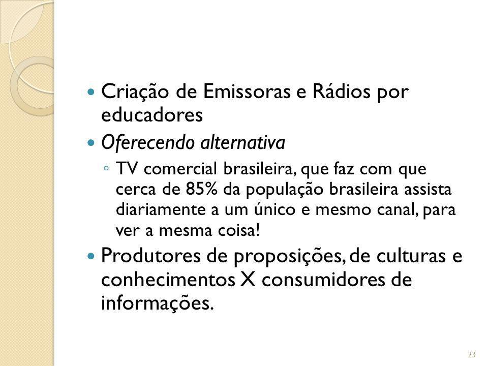 Criação de Emissoras e Rádios por educadores Oferecendo alternativa TV comercial brasileira, que faz com que cerca de 85% da população brasileira assi