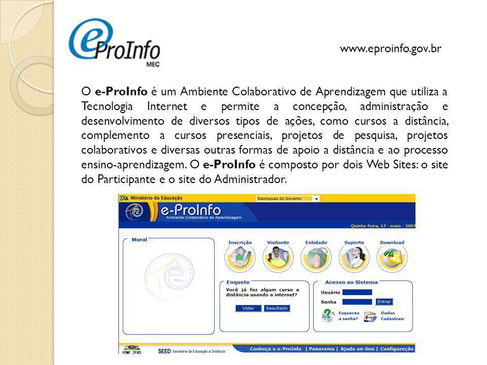 29 O e-ProInfo é um Ambiente Colaborativo de Aprendizagem que utiliza a Tecnologia Internet e permite a concepção, administração e desenvolvimento de