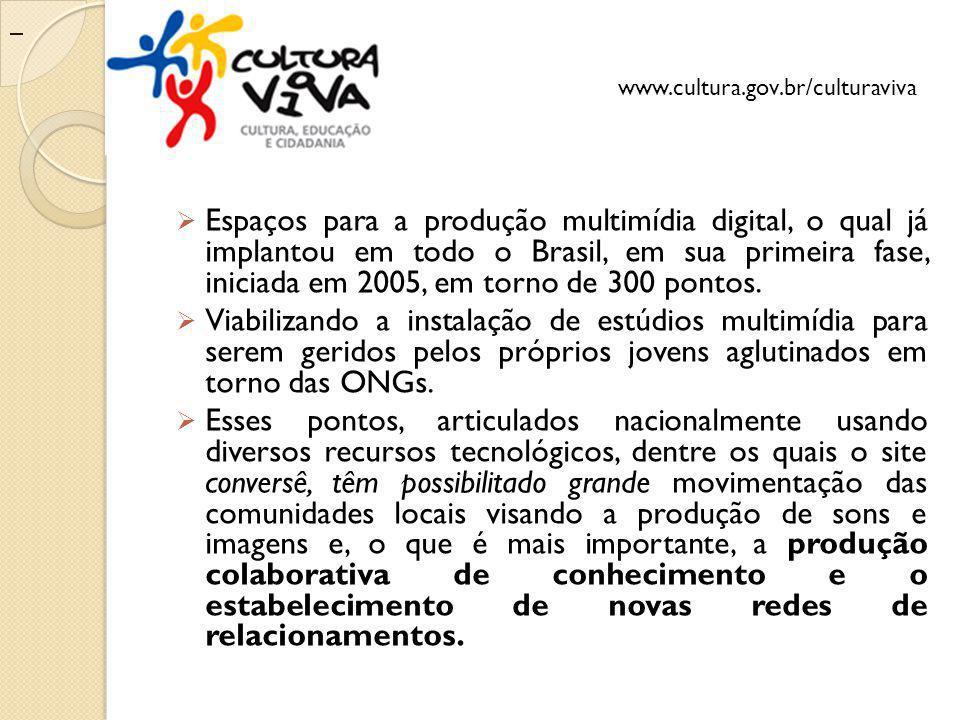 Espaços para a produção multimídia digital, o qual já implantou em todo o Brasil, em sua primeira fase, iniciada em 2005, em torno de 300 pontos. Viab