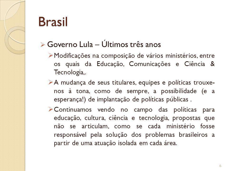 Brasil Governo Lula – Últimos três anos Modificações na composição de vários ministérios, entre os quais da Educação, Comunicações e Ciência & Tecnolo