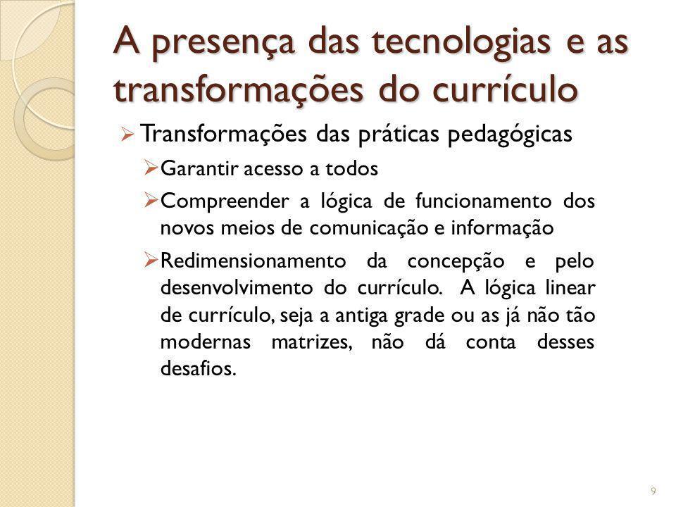 A presença das tecnologias e as transformações do currículo Transformações das práticas pedagógicas Garantir acesso a todos Compreender a lógica de fu