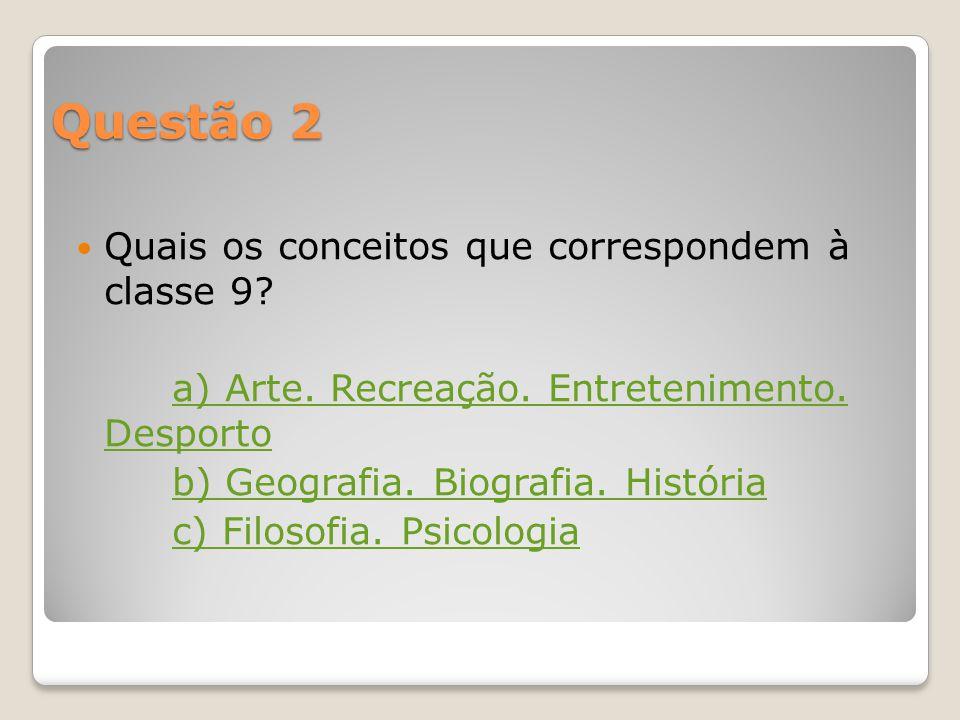 Questão 1 A que classe corresponde o conceito Religião? a) Classe 2 b) Classe 7 c) Classe 8