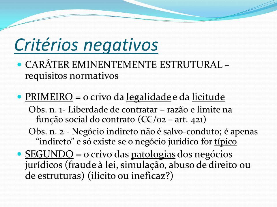 Critérios negativos CARÁTER EMINENTEMENTE ESTRUTURAL – requisitos normativos PRIMEIRO = o crivo da legalidade e da licitude Obs.