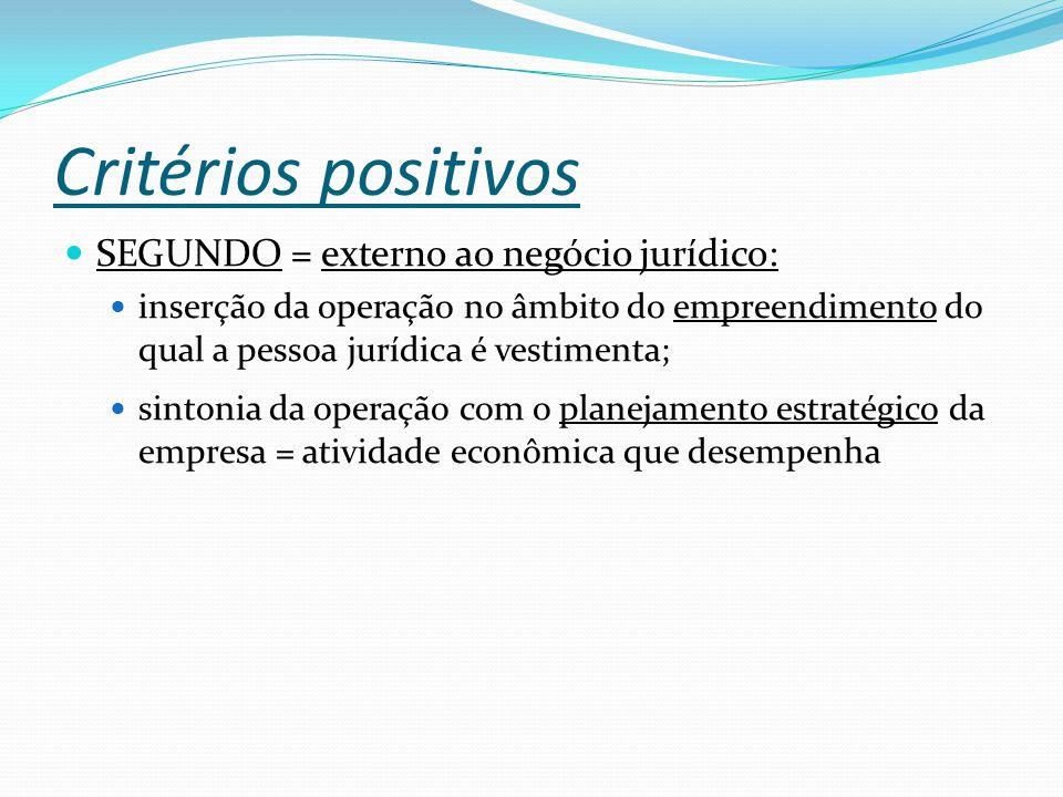 Critérios positivos SEGUNDO = externo ao negócio jurídico: inserção da operação no âmbito do empreendimento do qual a pessoa jurídica é vestimenta; sintonia da operação com o planejamento estratégico da empresa = atividade econômica que desempenha