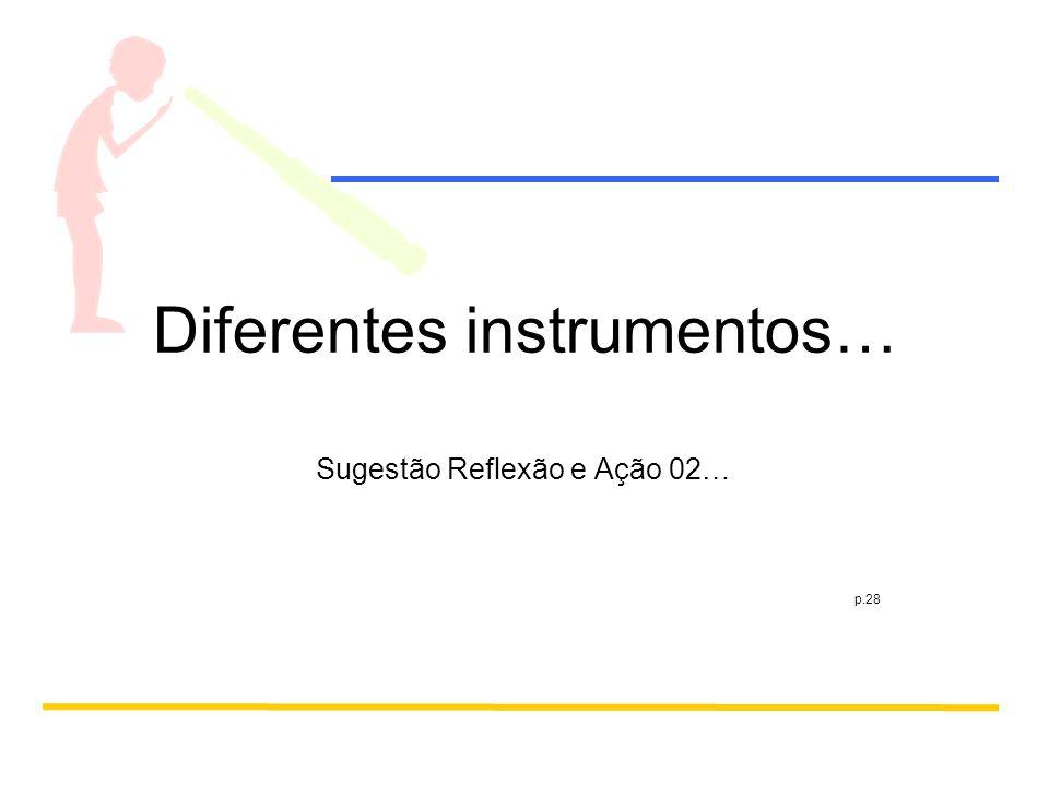 Diferentes instrumentos… Sugestão Reflexão e Ação 02… p.28