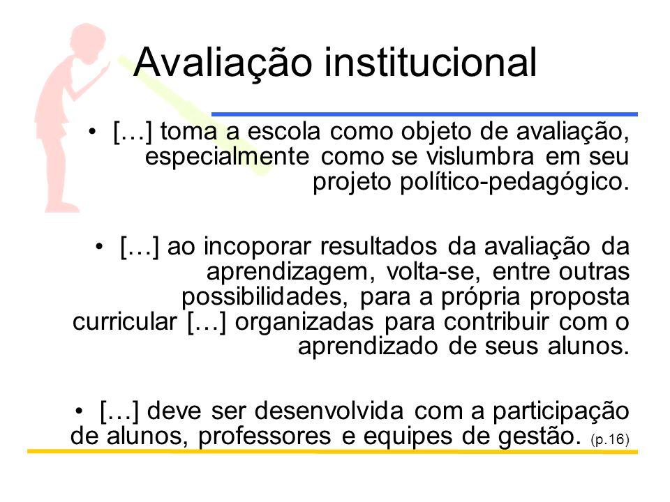 Avaliação institucional […] toma a escola como objeto de avaliação, especialmente como se vislumbra em seu projeto político-pedagógico.