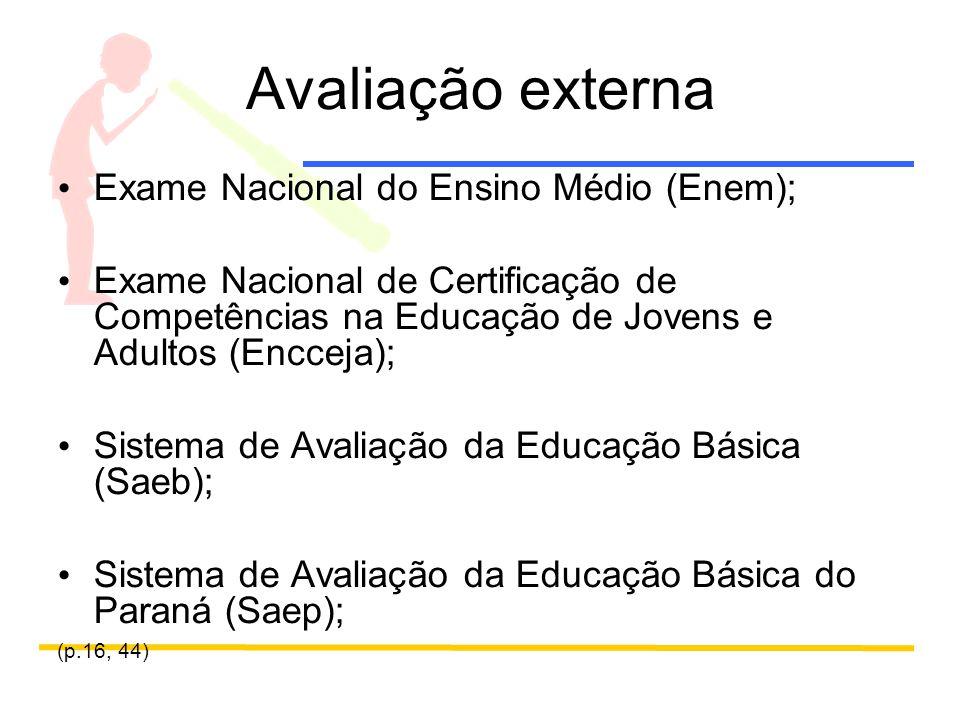 Avaliação externa Exame Nacional do Ensino Médio (Enem); Exame Nacional de Certificação de Competências na Educação de Jovens e Adultos (Encceja); Sistema de Avaliação da Educação Básica (Saeb); Sistema de Avaliação da Educação Básica do Paraná (Saep); (p.16, 44)