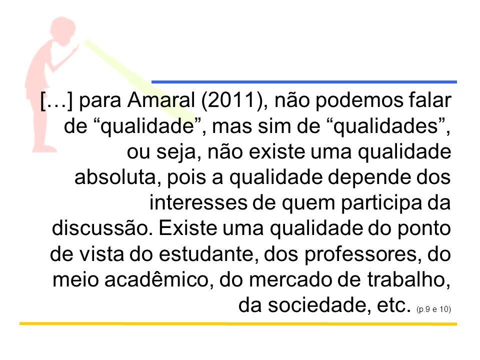 […] para Amaral (2011), não podemos falar de qualidade, mas sim de qualidades, ou seja, não existe uma qualidade absoluta, pois a qualidade depende dos interesses de quem participa da discussão.