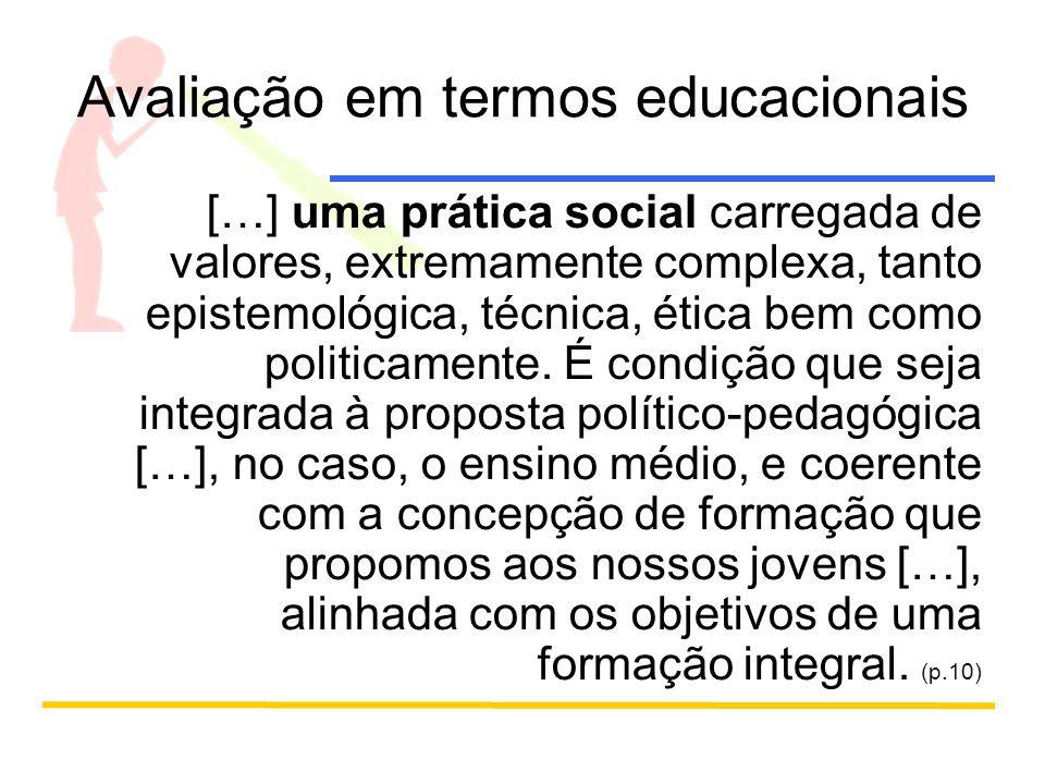 Avaliação interna, externa e institucional Considerando a importância e a possibilidade de articular as avaliações externas com os resultados internos das escolas, à avaliação institucional aparece como um processo que poderia materializar essas preocupações.