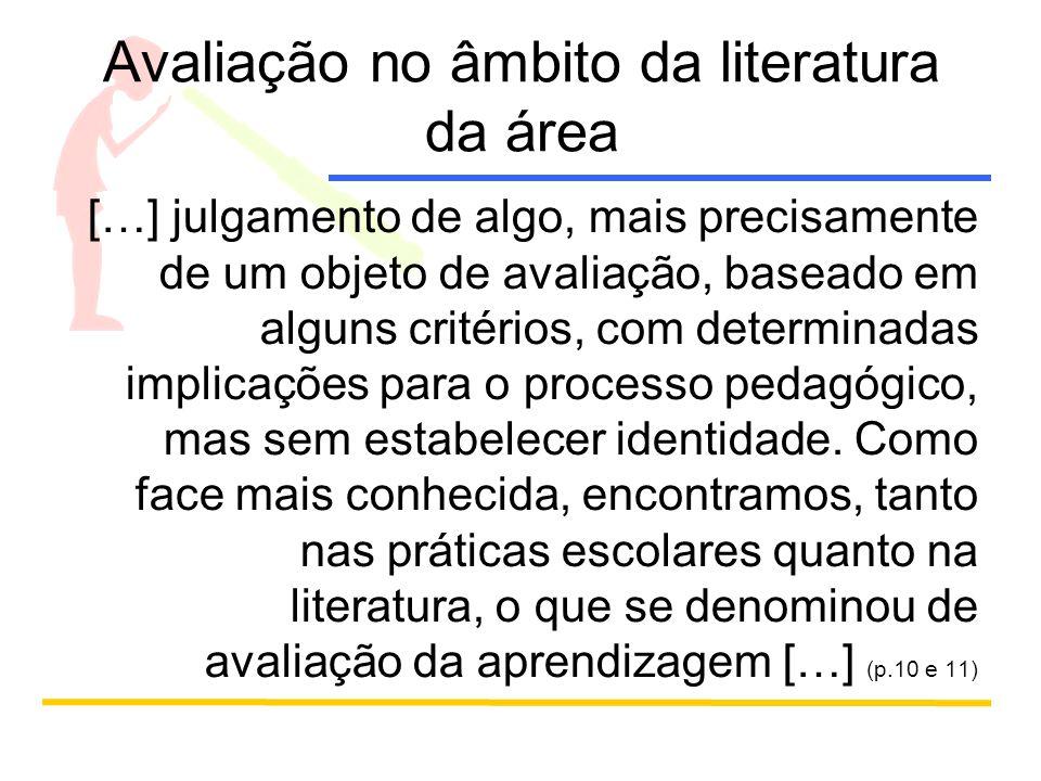 Tipos de avaliação Avaliação da aprendizagem Avaliação institucional Avaliação externa