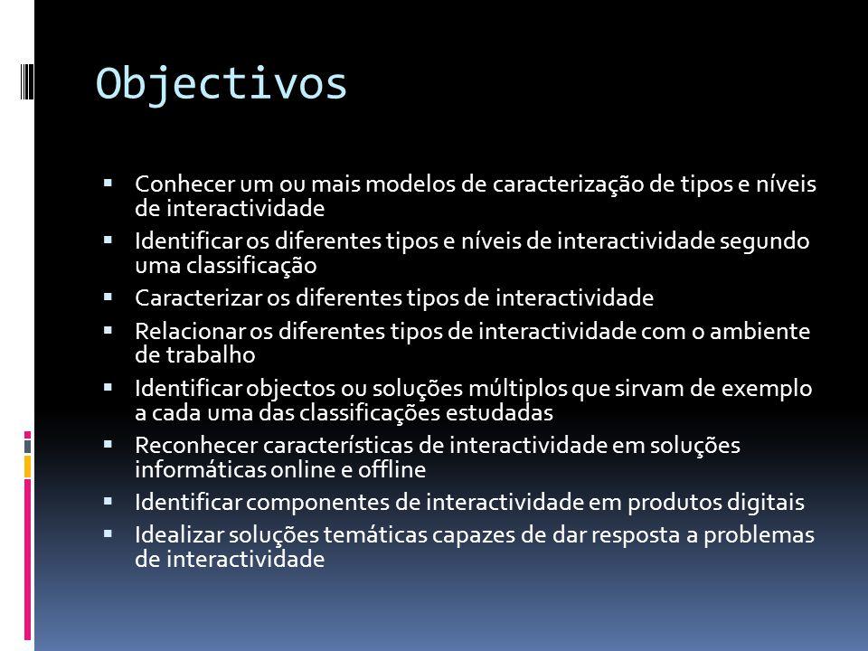 Objectivos Conhecer um ou mais modelos de caracterização de tipos e níveis de interactividade Identificar os diferentes tipos e níveis de interactivid