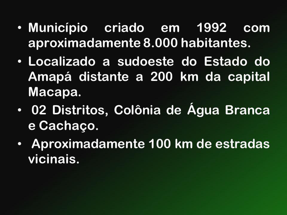 Município criado em 1992 com aproximadamente 8.000 habitantes. Localizado a sudoeste do Estado do Amapá distante a 200 km da capital Macapa. 02 Distri