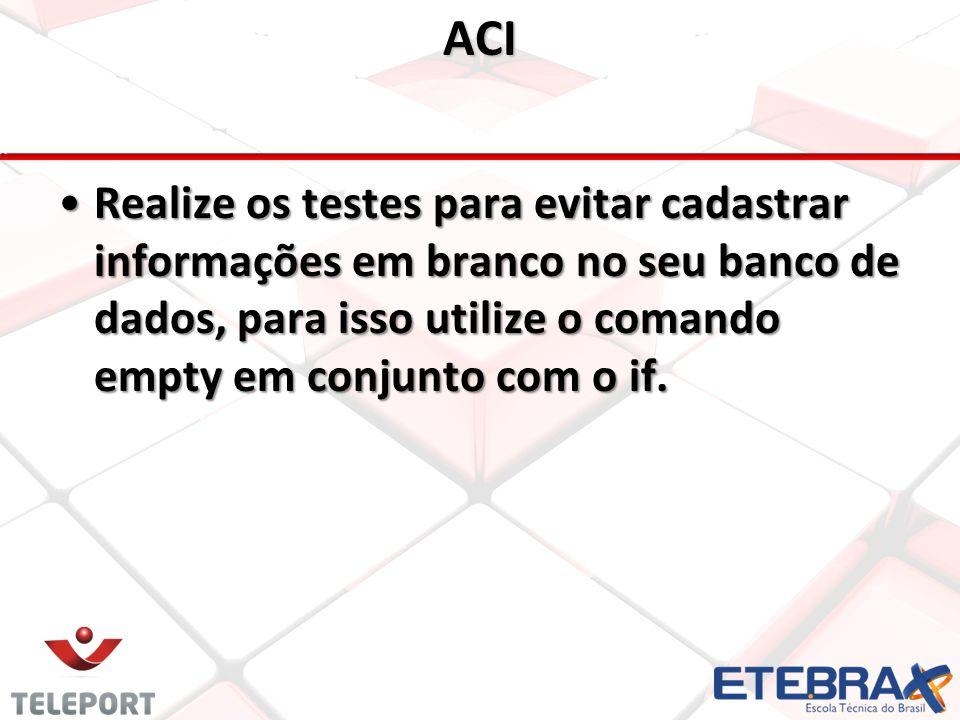 ACI Realize os testes para evitar cadastrar informações em branco no seu banco de dados, para isso utilize o comando empty em conjunto com o if.