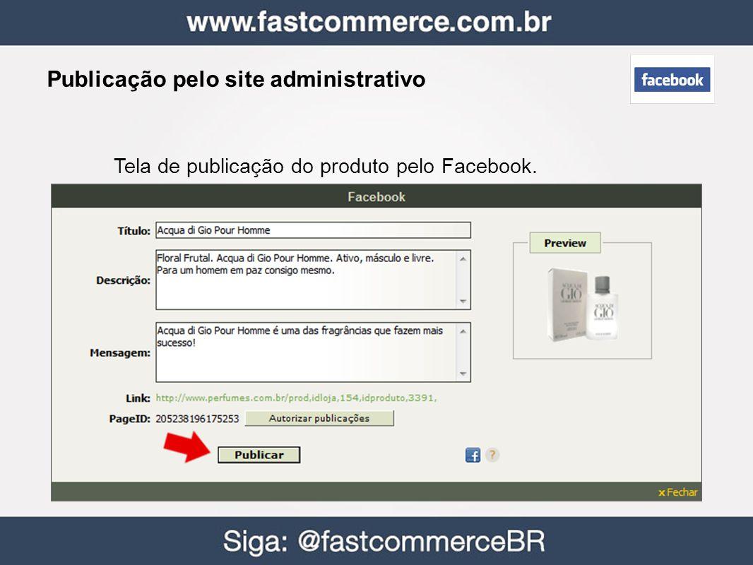 Tela de publicação do produto pelo Facebook. Publicação pelo site administrativo
