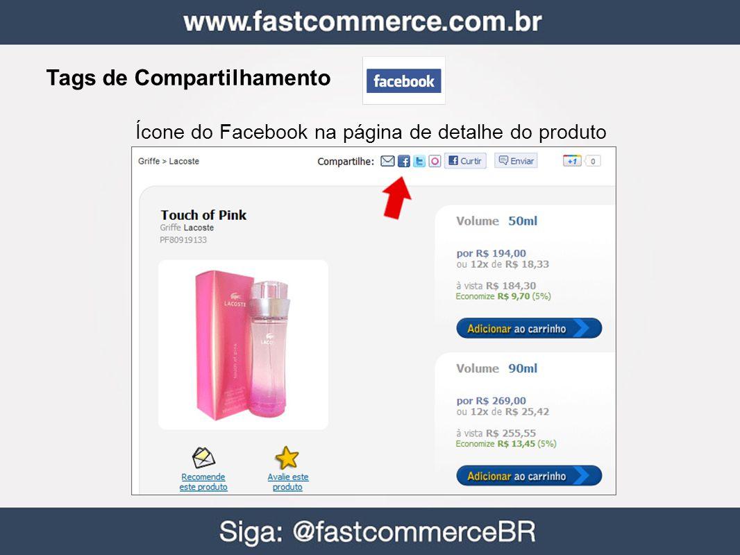 Tags de Compartilhamento Ícone do Facebook na página de detalhe do produto