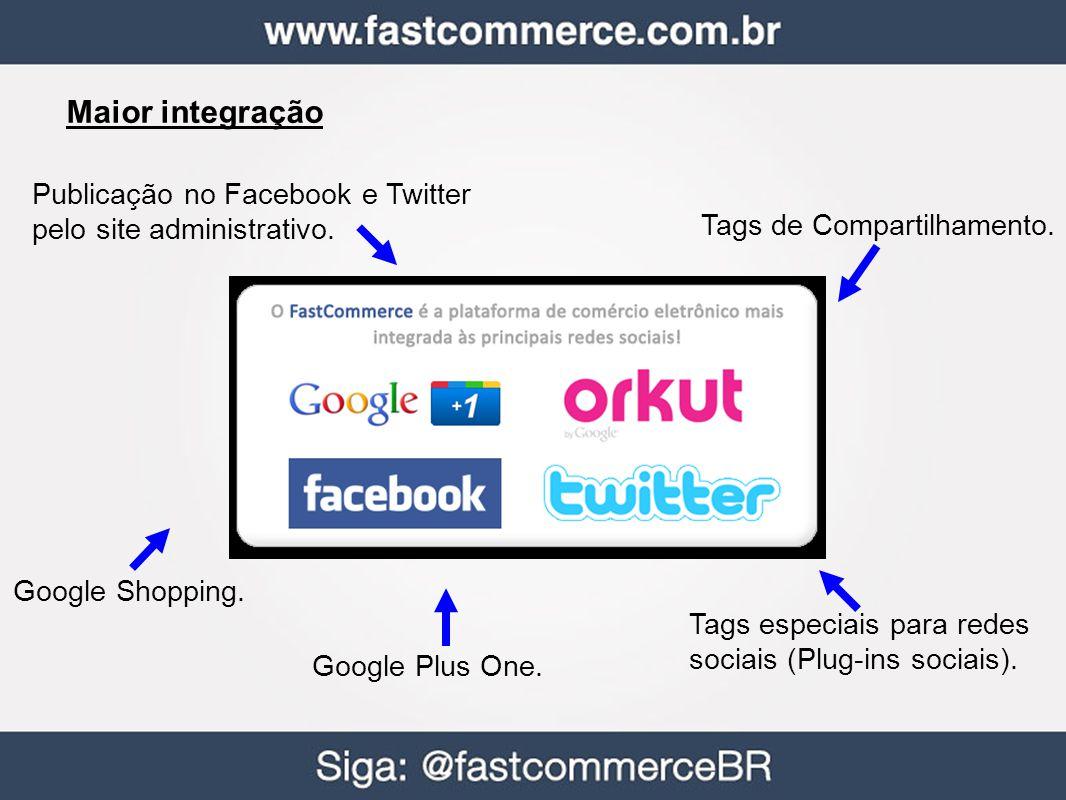 Maior integração Publicação no Facebook e Twitter pelo site administrativo. Tags de Compartilhamento. Tags especiais para redes sociais (Plug-ins soci