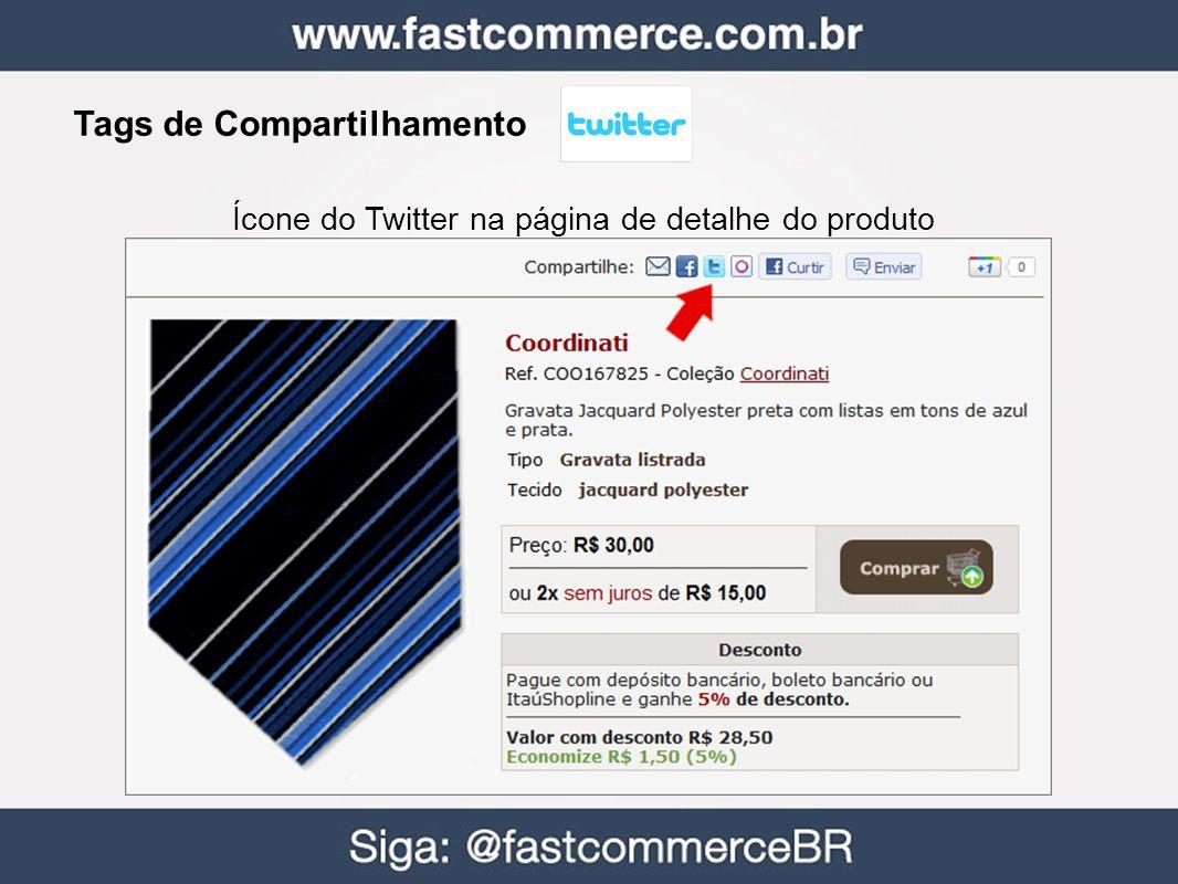 Tags de Compartilhamento Ícone do Twitter na página de detalhe do produto