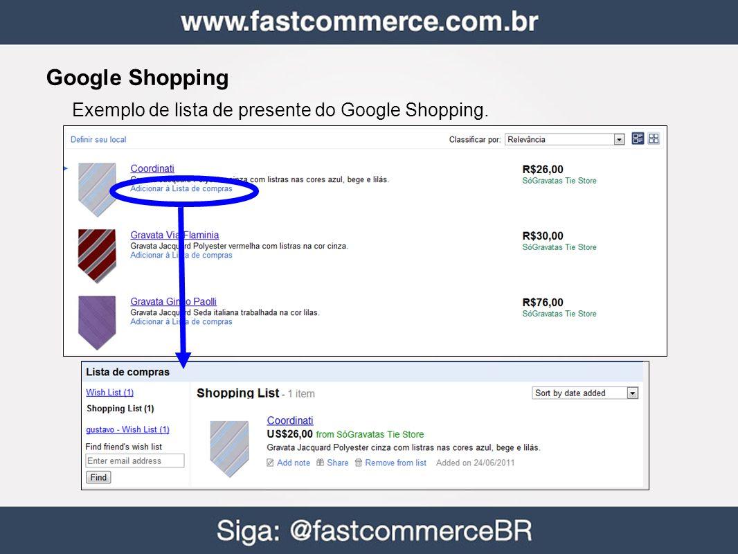 Google Shopping Exemplo de lista de presente do Google Shopping.