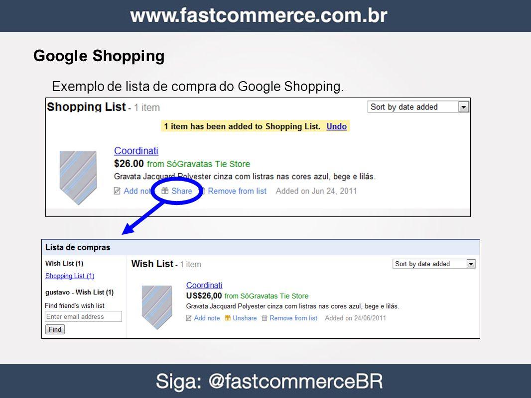 Google Shopping Exemplo de lista de compra do Google Shopping.