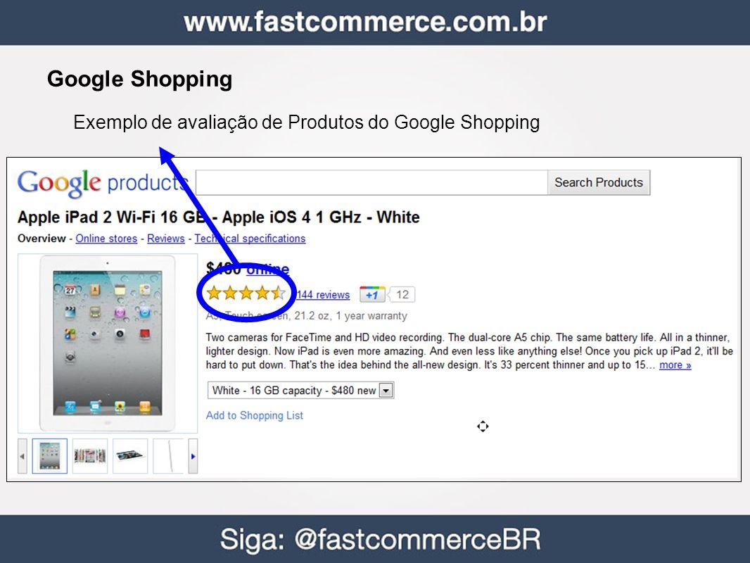 Google Shopping Exemplo de avaliação de Produtos do Google Shopping