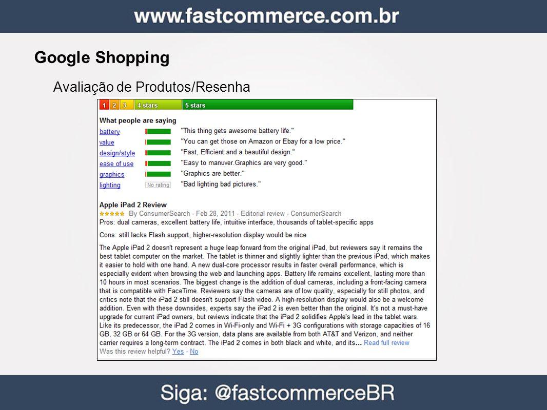 Google Shopping Avaliação de Produtos/Resenha