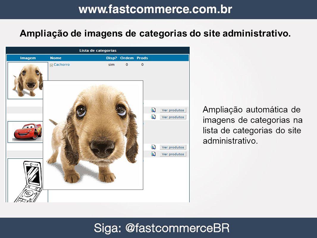 Ampliação de imagens de categorias do site administrativo. Ampliação automática de imagens de categorias na lista de categorias do site administrativo