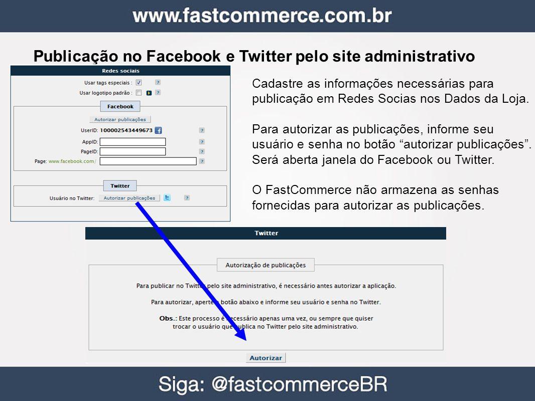 Publicação no Facebook e Twitter pelo site administrativo Cadastre as informações necessárias para publicação em Redes Socias nos Dados da Loja. Para