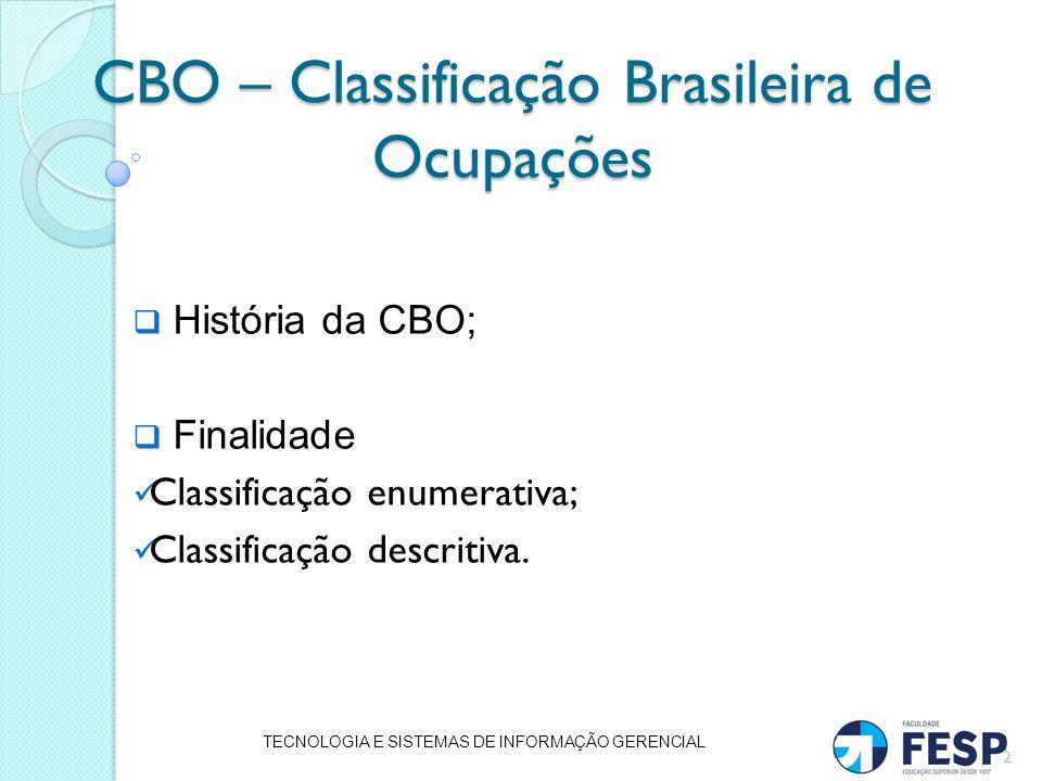CBO – Classificação Brasileira de Ocupações História da CBO; Finalidade Classificação enumerativa; Classificação descritiva. TECNOLOGIA E SISTEMAS DE