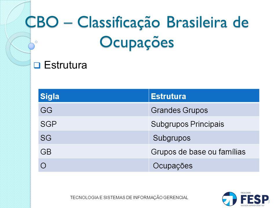 CBO – Classificação Brasileira de Ocupações Estrutura TECNOLOGIA E SISTEMAS DE INFORMAÇÃO GERENCIAL 3 SiglaEstrutura GGGrandes Grupos SGPSubgrupos Pri