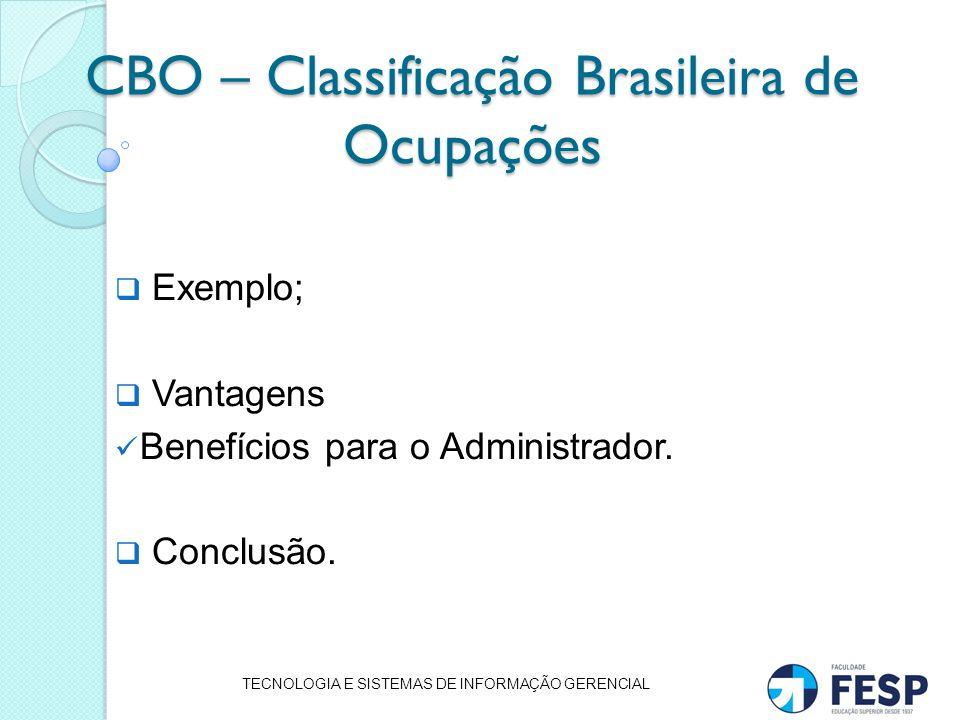 CBO – Classificação Brasileira de Ocupações Exemplo; Vantagens Benefícios para o Administrador. Conclusão. TECNOLOGIA E SISTEMAS DE INFORMAÇÃO GERENCI