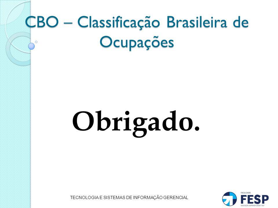 CBO – Classificação Brasileira de Ocupações Obrigado. TECNOLOGIA E SISTEMAS DE INFORMAÇÃO GERENCIAL