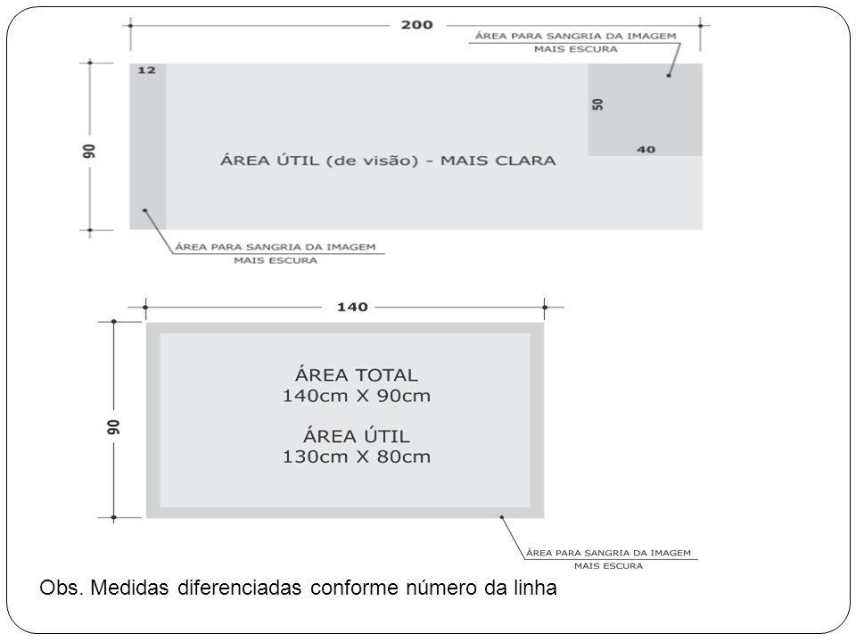 Obs. Medidas diferenciadas conforme número da linha