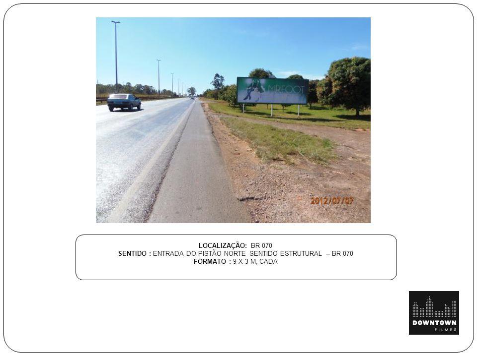 LOCALIZAÇÃO: BR 070 SENTIDO : ENTRADA DO PISTÃO NORTE SENTIDO ESTRUTURAL – BR 070 FORMATO : 9 X 3 M, CADA