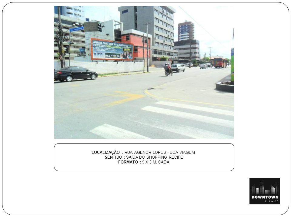 LOCALIZAÇÃO : RUA AMAURI LANGE SILVÉRIO SENTIDO : ESQ. CAMPO DO PILARZINHO FORMATO : 9 X 3 M, CADA