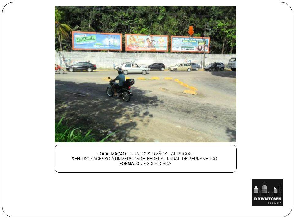LOCALIZAÇÃO: VIA ESTRUTURAL SENTIDO TAGUATINGA BRASÍLIA SENTIDO : PRÓXIMO AO POSTO POLICIAL - ESTRUTURAL FORMATO : 9 X 3 M, CADA