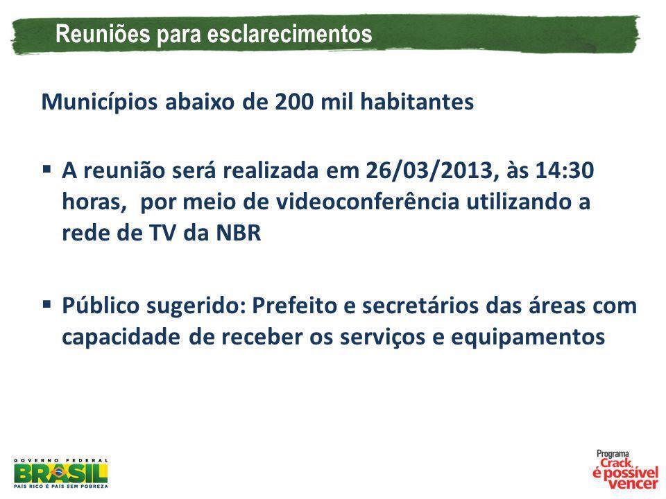 Reuniões para esclarecimentos Municípios abaixo de 200 mil habitantes A reunião será realizada em 26/03/2013, às 14:30 horas, por meio de videoconferê