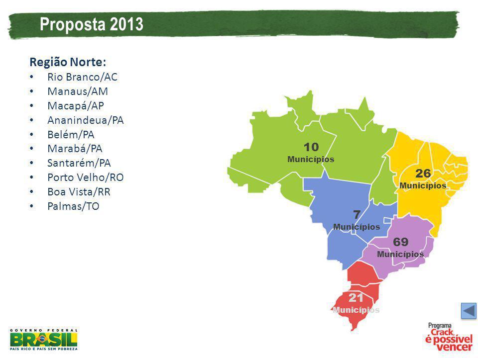 Proposta 2013 Região Norte: Rio Branco/AC Manaus/AM Macapá/AP Ananindeua/PA Belém/PA Marabá/PA Santarém/PA Porto Velho/RO Boa Vista/RR Palmas/TO 10 Mu