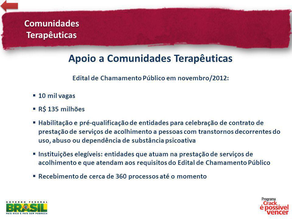 Comunidades Terapêuticas Apoio a Comunidades Terapêuticas Edital de Chamamento Público em novembro/2012: 10 mil vagas R$ 135 milhões Habilitação e pré