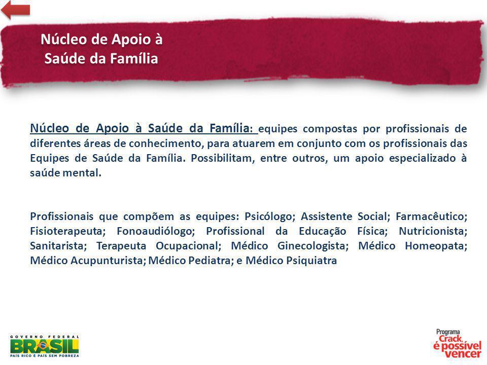 Núcleo de Apoio à Saúde da Família : equipes compostas por profissionais de diferentes áreas de conhecimento, para atuarem em conjunto com os profissi