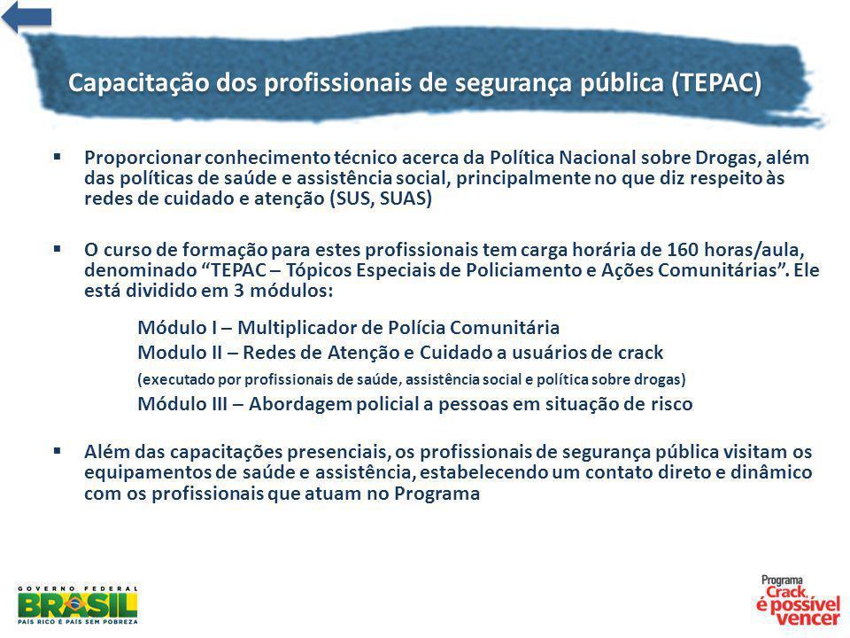Capacitação dos profissionais de segurança pública (TEPAC) Proporcionar conhecimento técnico acerca da Política Nacional sobre Drogas, além das políti