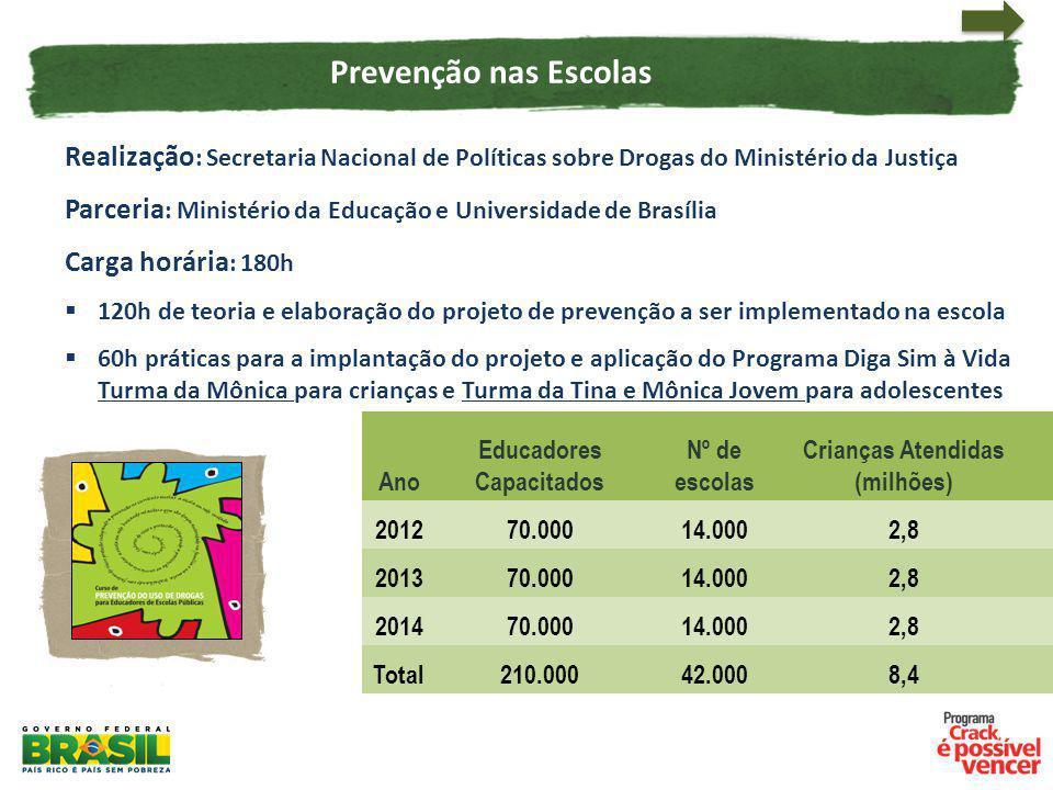 Realização : Secretaria Nacional de Políticas sobre Drogas do Ministério da Justiça Parceria : Ministério da Educação e Universidade de Brasília Carga