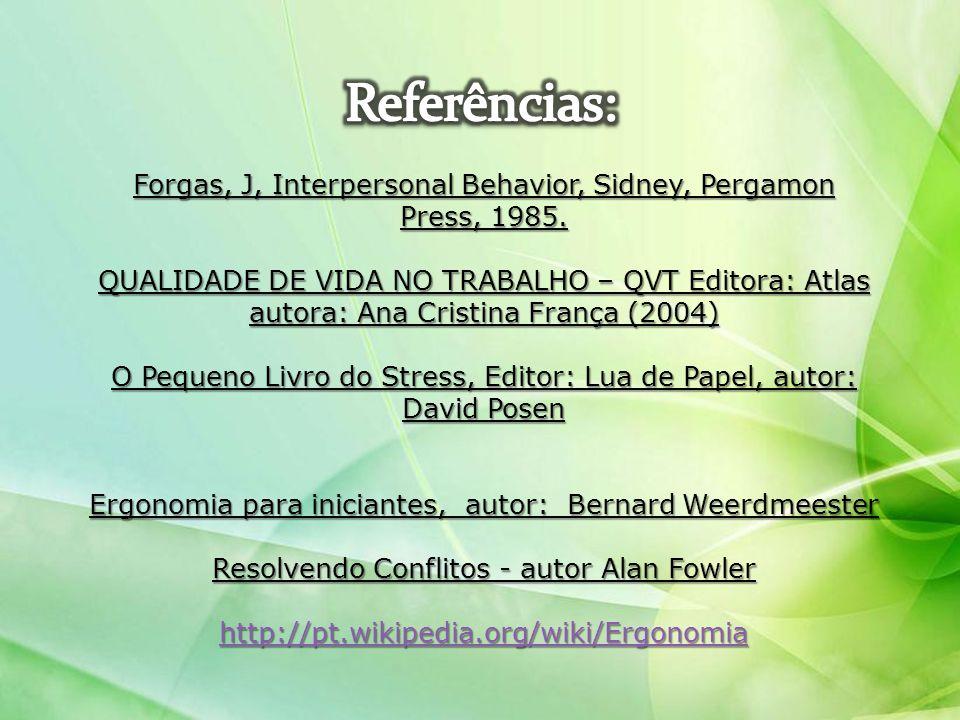 Forgas, J, Interpersonal Behavior, Sidney, Pergamon Press, 1985. QUALIDADE DE VIDA NO TRABALHO – QVT Editora: Atlas autora: Ana Cristina França (2004)