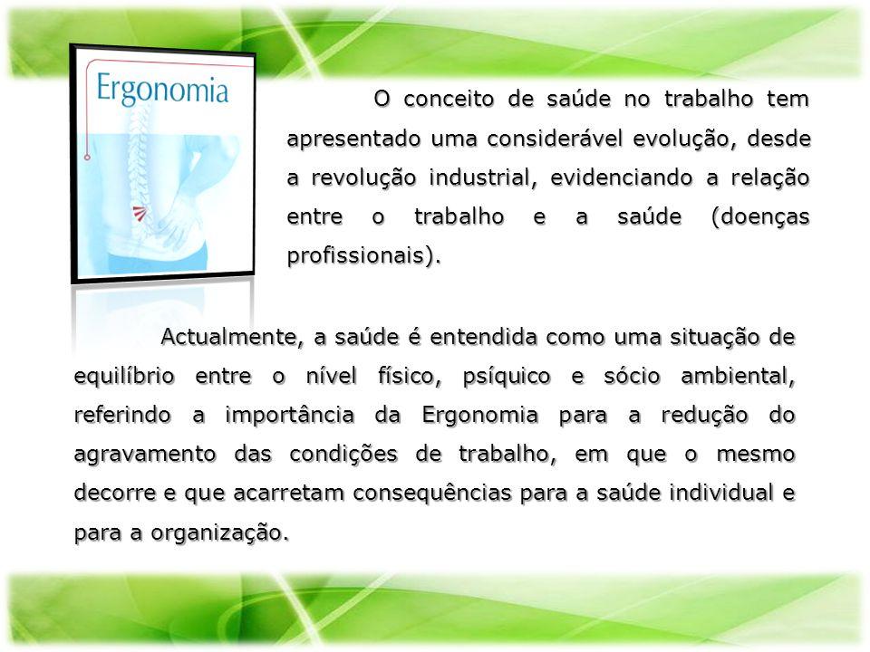 Actualmente, a saúde é entendida como uma situação de equilíbrio entre o nível físico, psíquico e sócio ambiental, referindo a importância da Ergonomi