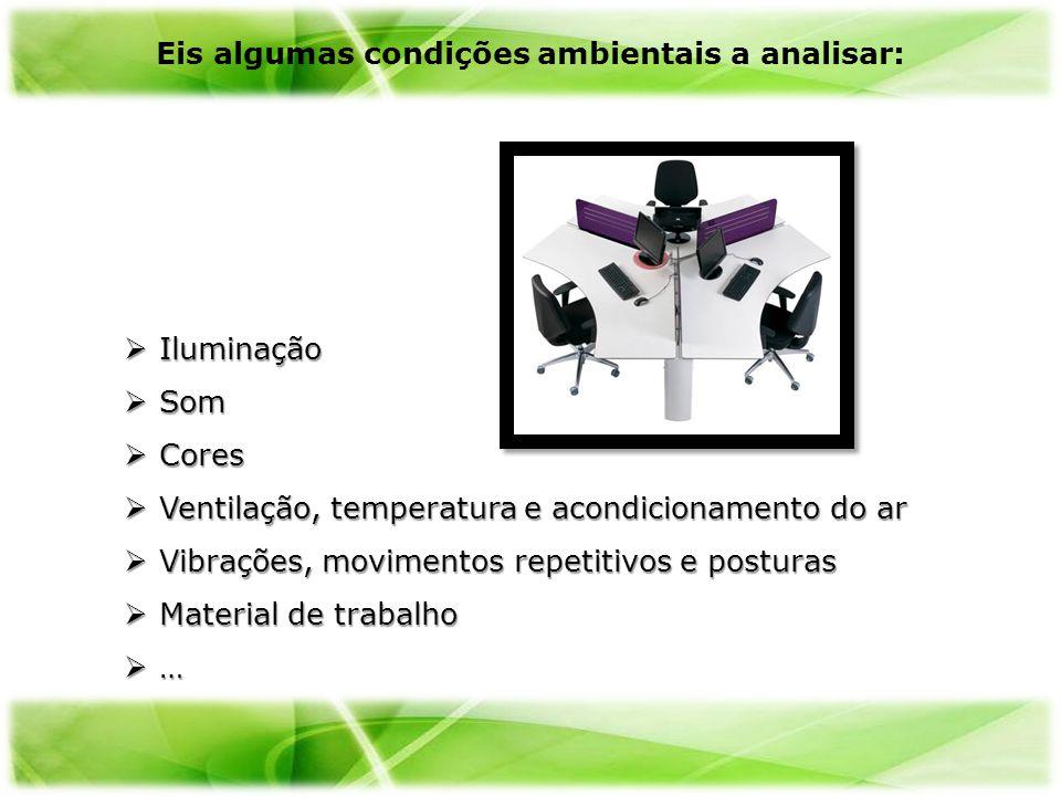 Iluminação Iluminação Som Som Cores Cores Ventilação, temperatura e acondicionamento do ar Ventilação, temperatura e acondicionamento do ar Vibrações,