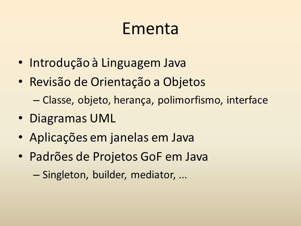 Ementa Introdução à Linguagem Java Revisão de Orientação a Objetos – Classe, objeto, herança, polimorfismo, interface Diagramas UML Aplicações em jane