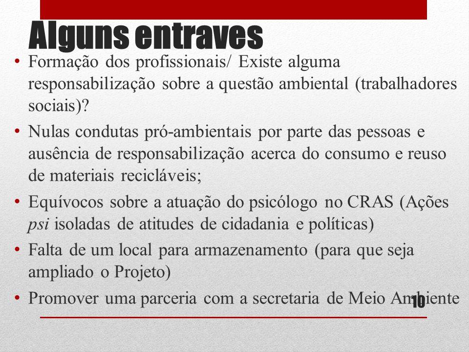 Alguns entraves Formação dos profissionais/ Existe alguma responsabilização sobre a questão ambiental (trabalhadores sociais)? Nulas condutas pró-ambi