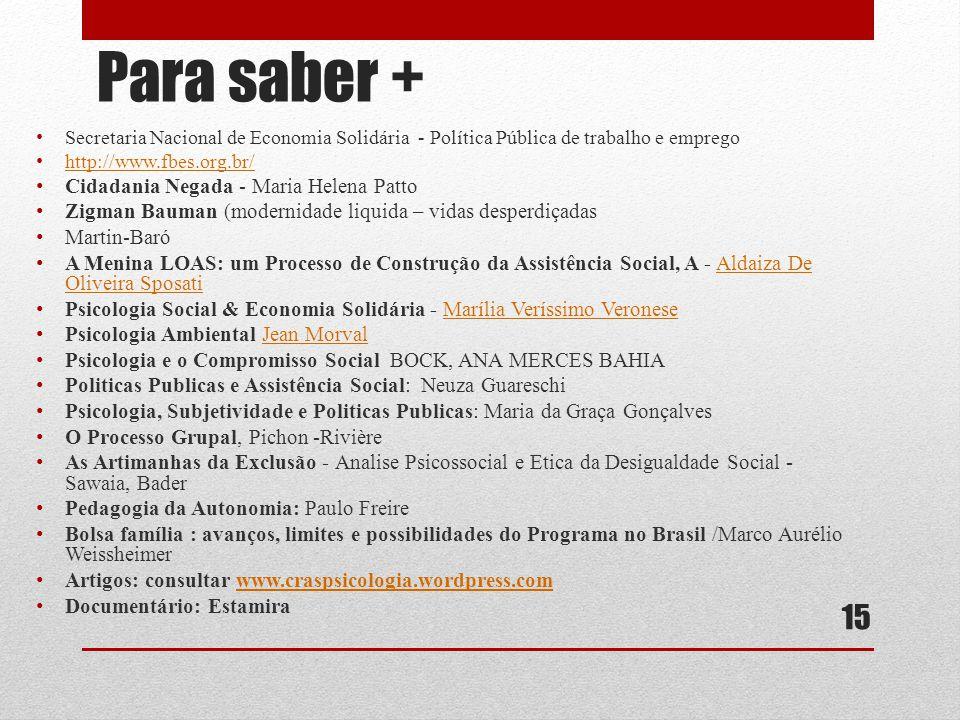Para saber + Secretaria Nacional de Economia Solidária - Política Pública de trabalho e emprego http://www.fbes.org.br/ Cidadania Negada - Maria Helen