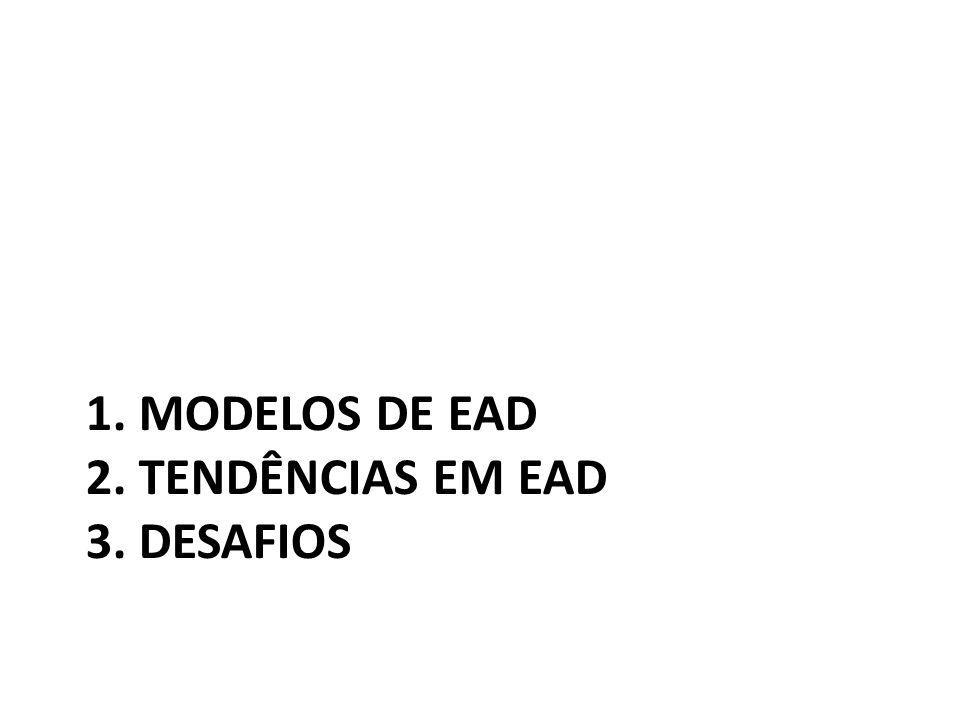 1. MODELOS DE EAD 2. TENDÊNCIAS EM EAD 3. DESAFIOS
