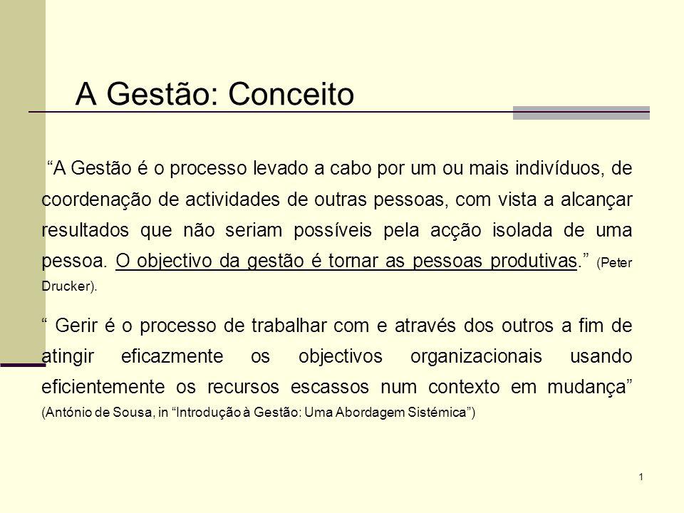 1 A Gestão: Conceito A Gestão é o processo levado a cabo por um ou mais indivíduos, de coordenação de actividades de outras pessoas, com vista a alcan